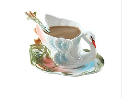 Elegant Handpainted Collectable Fine Arts China Porcelain Tea Cup and Saucer Coffee Cup Peacock Theme Romantic Creative Present for Wedding/christmas Three Sets (Swan)