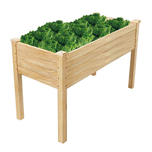 VINGLI Pine Wood Raised Garden Bed Vegetable Planter, Grow Fresh Vegetables, Herb Gardens, Flowers & Succulents, Very Solidly Made Patio Garden Planter Boxes (48.5inchx22.5inchx30inch)