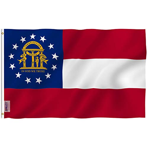 Nylon Georgia Indoor Flag - Anley Fly Breeze 3x5 Foot Georgia State Polyester Flag - Vivid Color and UV Fade Resistant - Canvas Header and Double Stitched - State of Georgia GA Flags with Brass Grommets 3 X 5 Ft