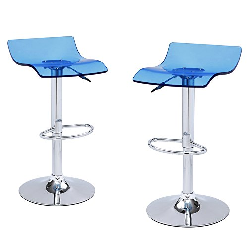 Joveco Clear Acrylic Adjustable Barstool with Micro Back and Pedestal Base (Blue) - Set of (Acrylic Adjustable Bar Stools)