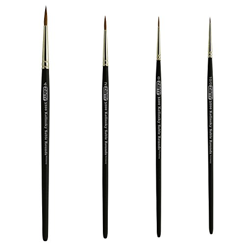 ZEM BRUSH Kolinsky Pure Sable Artist Brush Set Detail Sizes 10/0,0,2,4 (Pure Kolinsky Sable Watercolor Brushes)