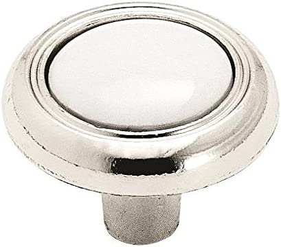 "Amerock BP76244-26W Polished Chrome 1 1//4/"" Cabinet Knob with White Center"