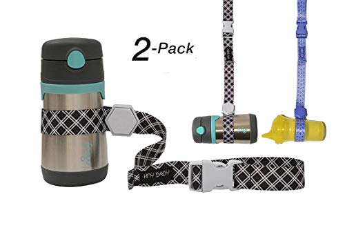 (Mix and Match Colors Sippy Cup Strap for Baby Bottle and Toy Strap 2 Pack Sippy Cup Holder with Rubber Grip for Stroller & Highchair (Black/Blue))