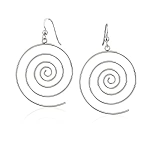 925 Sterling Silver Large Open Round Thin Lines Coil Minimalist Earrings, 33 x 51mm