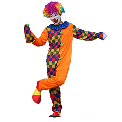Carnival Clown Costume Halloween Masquerade Adult Clown Outfit Suit for Men Party with Hat - Size 5XL (ZC-005)