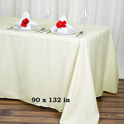 BalsaCircle 90x132-Inch Ivory Rectangle Polyester Tablecloth