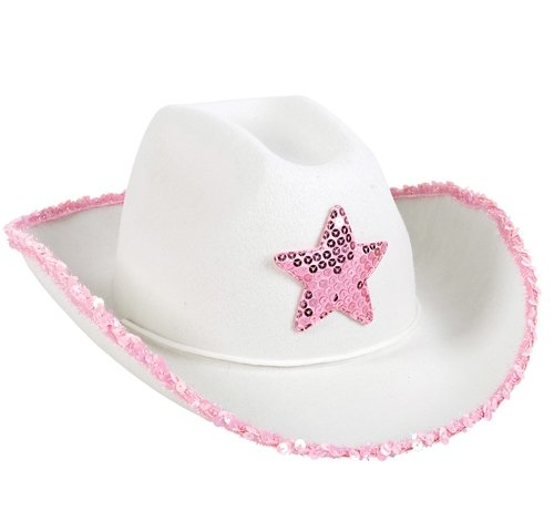 WHITE FELT COWGIRL HAT WITH PINK STAR, Case of 48 by DollarItemDirect (Image #1)