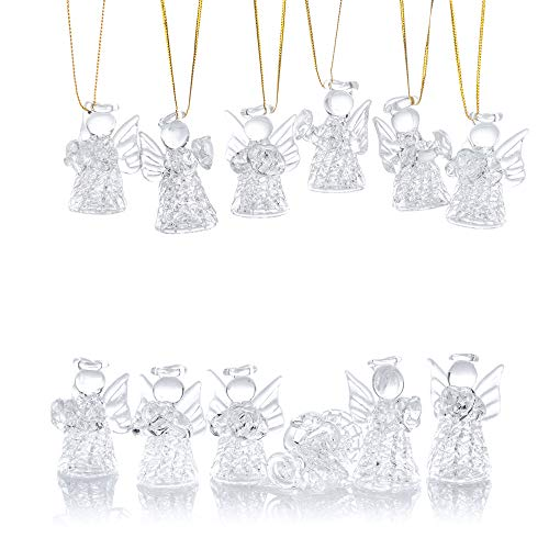 Nuptio 12 Pcs Beautiful Mini Clear Glass Hanging Angels Christmas Tree Ornaments, Christmas Season Holiday Decorations, Glass Art Prayer Guardian for Childen Teens Loved Ones Encouragement