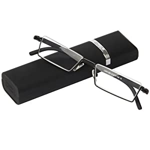 Fashion Matt Black Half Frame Frameless Eyeglasses Stylish Spring lightweight portable Reading Glasses with Protective Case +3.00