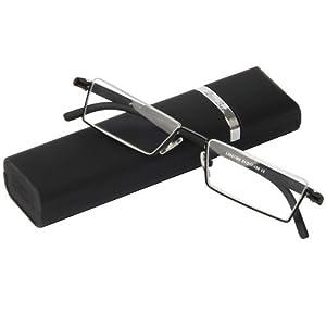 Fashion Matt Black Half Frame Frameless Eyeglasses Stylish Spring lightweight portable Reading Glasses with Protective Case +4.00