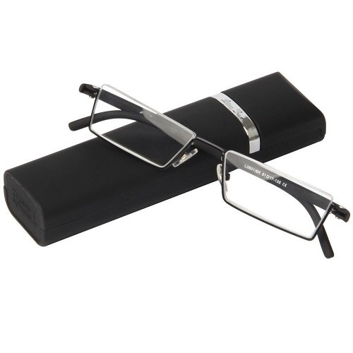 Fashion Matt Black Half Frame Frameless Eyeglasses Stylish Spring lightweight portable Reading Glasses with Protective Case - Most Men For Frames Popular Eyeglass