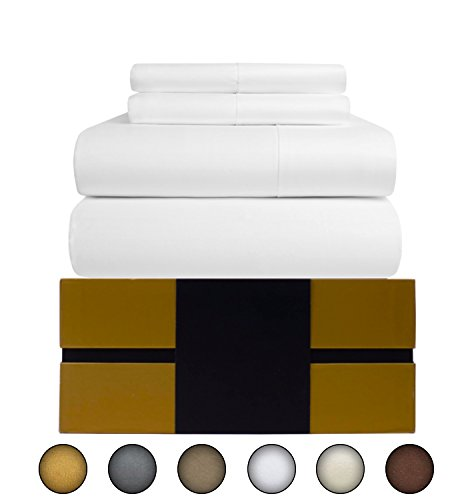 Egyptian Cotton Sheets Set (4 Piece) 800 Thread Count - Bedspread Deep Pocket Premium Quality Bedding Set, Luxury Bed Sheets for Hotel and Home Collection Soft Sateen Weave Perfect Gift (Queen, White) (800 Tc Sheets Queen)