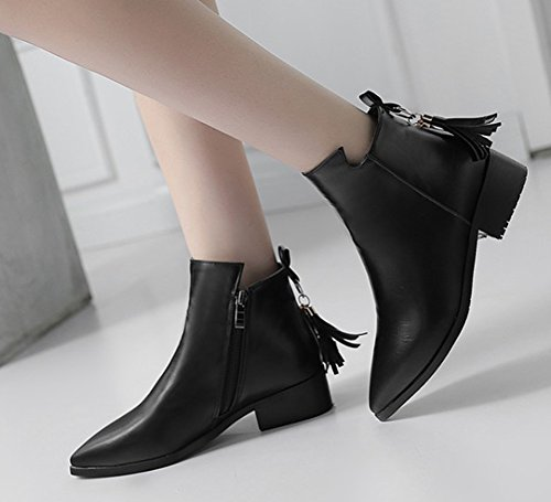 Zip Boots Toe Dressy Fringed Fringe Low Trendy Women's Short Pointed Aisun Inside Black Chunky Booties Ankle Up Heel With wxSp1IACq