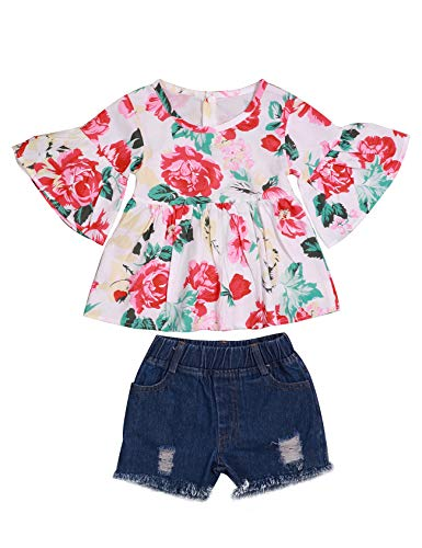 (fiercewolf 2Pcs Toddler Baby Girl Clothes Summer Outfits Floral Print Ruffle T-Shirt + Ripped Jeans Denim Pants Sets (4-5T/120))