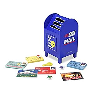 """Melissa & Doug Stamp and Sort Wooden Mailbox Activity and Toy, Developmental Toy, Construction, 14 Pieces, 7.5"""" H x 7.5"""" W x 13.4"""" L"""