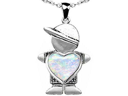 14k Heart Shape Slide (Star K Boy Holding 8mm Mother Heart October Birth Month Pendant Necklace with Created Opal)