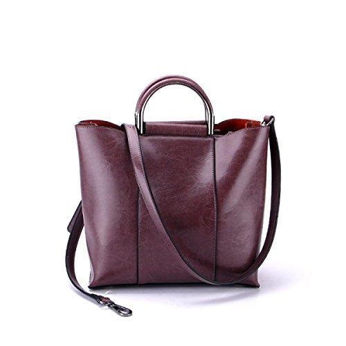 Gshga New Genuine Leather Handbags Large Capacity Fashion Handbags Diagonal Top-handle Bags Totes, Blue Lightpurple
