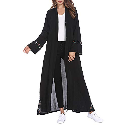 Clearance!Muslim Women Islamic Embroidered Floral Print Trumpet Sleeves Cardigan Long Coat Middle East Long Robe (M, Black)