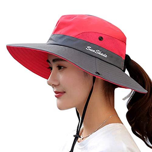 (Vankerful Women's Sun Hat Wide Brim Outdoor UV Protection Mesh Boonie Hat Fishing Hiking Hunting Camping Cap Foldable Safari Beach Bucket Hat Adjustable)