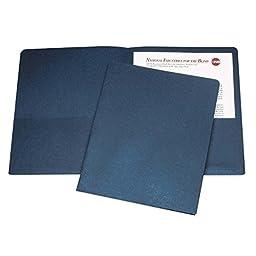 Skilcraft NSN5842489 Double Pocket Portfolio, .38 in. Exp., Letter, 25-BX, Dark Blue