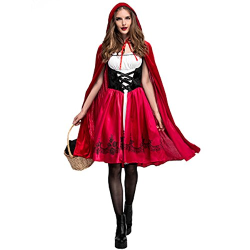 NoveltyBoy Halloween Little Red Cap Dress Adult Cosplay Party Pack Little Red Riding Hood (Little Red Riding Hood Halloween Hair)