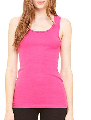 Bella Canvas Women's Sleeveless Softer Baby Rib Knit Tank Top, Berry, - 1080 Tank Bella