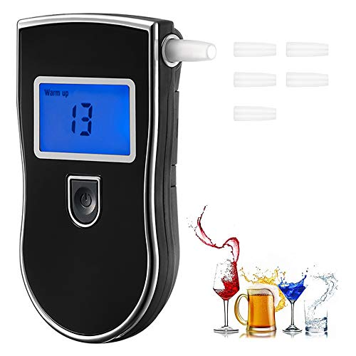 Personal Breathalyzer, Portable Breath Alcohol Tester Digital Alcohol Detector - High Accuracy Semiconductor Sensor Personal Breathalyzers (with 5 Mouthpieces,on The Back of The breathalizer)