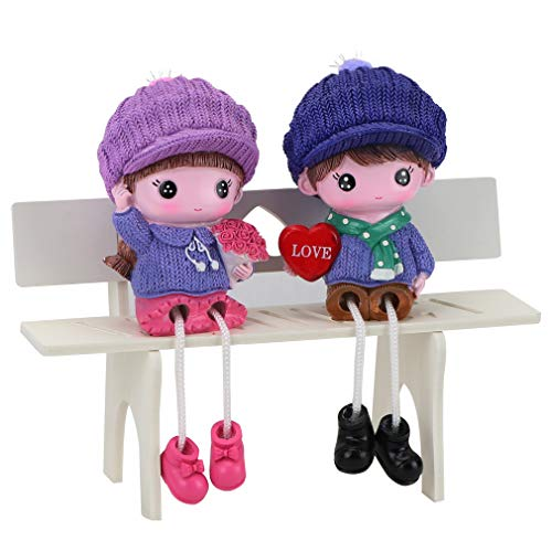 HoDrme 2 Pieces Couple Lover Dolls Figurines with Bench-Resign Collectible Girl and Boy Wedding Miniature Ornaments Gifts ()
