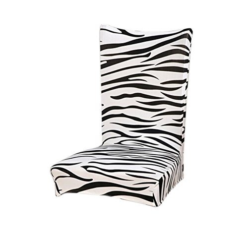 Fanjow Floral Print Stretch Removable Washable Short Dining Chair Protector Cover Slipcover, Spandex Stretch Chair Cover (Zebra)