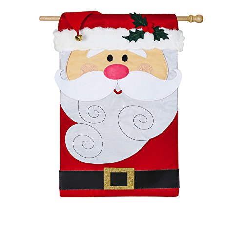 - Evergreen Santa Claus Outdoor Safe Double-Sided Applique House Flag, 28 x 44 inches