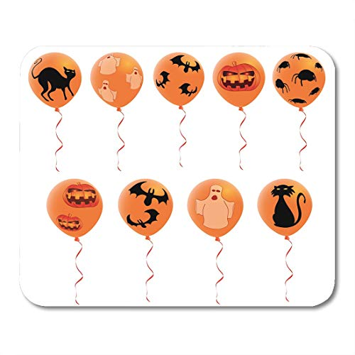 Emvency Mouse Pads Scary Black Pumpkin Halloween Balloons Scared Bat Cartoon Cat Mouse Pad for notebooks, Desktop Computers mats 9.5