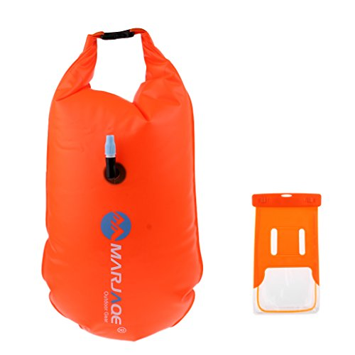 Baosity Durable PVC Roll Top Dry Bag Swimming Tow Float + Waterproof Phone Case For Open Water Swimmers and Triathletes - Orange by Baosity (Image #3)