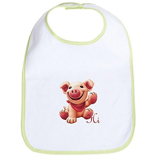 Waving Pig - CafePress - Cute Pink Pig Baby Bib - Cute Cloth Baby Bib, Toddler Bib