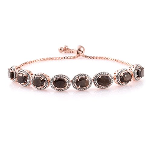 Chocolate Sapphire, Blue Sapphire 14K Rose Gold Plated Silver Bracelet Adjustable 8.07 cttw.7.50 In by Shop LC