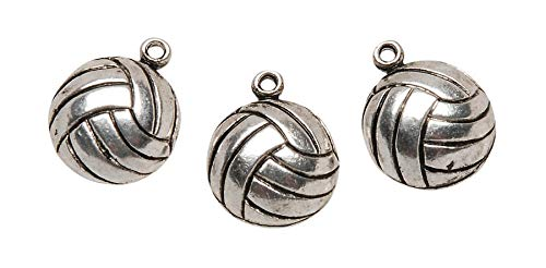 Darice Metal Charms, Silver Volleyball, 12-Pack ()