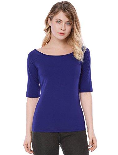 Allegra K Women's Half Sleeves Slim Fit Scoop Neck T-Shirt L Blue (Half Sleeve Tee)