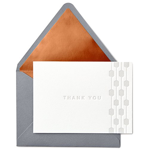 Hallmark Signature Gold Thank You Cards, Embossed Geometric Border (10 Cards with ()