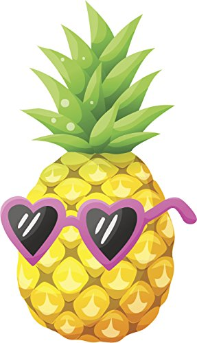 Pretty Summer Pineapple with Heart Sunglasses Cartoon Vinyl Decal Sticker (2