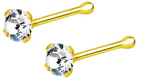 Set of 2: 22g 18k Gold Plated Sterling Silver CZ Simulated Diamond Nose Stud, 2.5mm ()