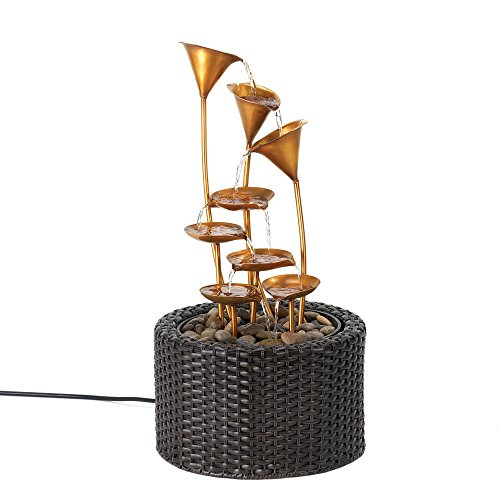 GHP Iron and Plastic Rattan-Like Woven Base Golden Water Lily Fountain by Globe House Products