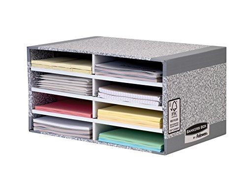 Fellowes R-Kive - Organizador de escritorio (cartón100% reciclado), color gris y blanco