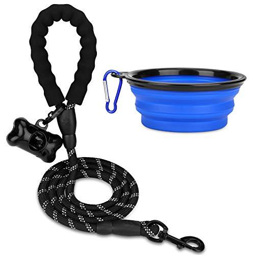 5 FT Heavy Dog Leash - Comfortable Filling Handle, Heavy Metal Buckle and High Reflector, Suitable for Small, Medium and Large Dogs, with Foldable Free Pet Bowl