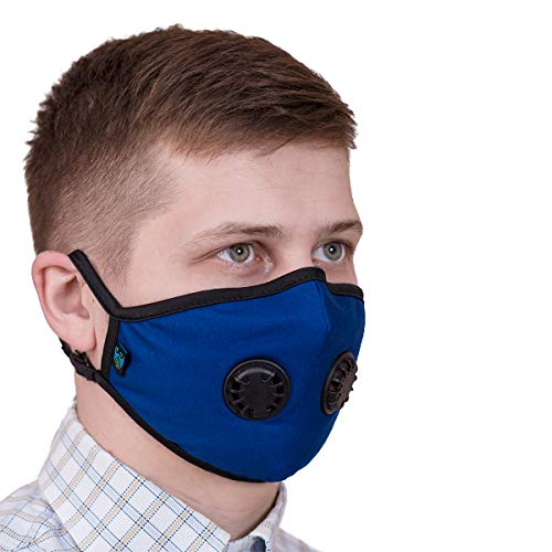 ToRespire Dust Mask N95 N99 Anti Pollution Mask Face Respirator w/ Antiviral / Activated Carbon Filters Reusable & Washable w/ Adjustable Head Straps for Men Women (Medium Blue)