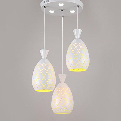 GL&G Light Iron simple three-head Chandelier Pendent Light for Hallway,Bedroom,Kitchen,Kids Room Lamps,LED Bulb Included, Warm White Light,3 head,1627cm by GAOLIGUO