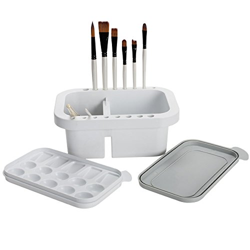- Jerry's Artarama Artist Brush Washer For Brush Rest, Storage, Waterbucket, and Palette ALL IN ONE Impact Resistant White Plastic with Lid - [9