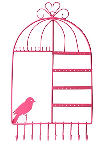 Earing Holder Necklace Hanger Birdcage Jewelry Organizer Wall Mount Jewelry Display Rack for girls, Pink (Bird Earring Holder)