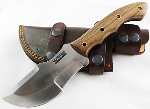 Moorhaus Handmade D2 Tool Steel Tracker Knife With Leather Sheath (Light Walnut)
