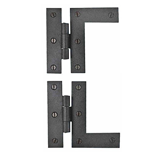 (Renovators Supply Manufacturing Wrought Iron Cabinet Hinges - Black - Left and Right - Colonial Style - Rust Resistant Finish - Flush Mount )