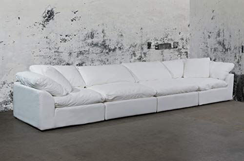 Sunset Trading SU-1458-81-2C-2A Cloud Puff 4 Piece Modular Performance White Sectional Slipcovered Sofa