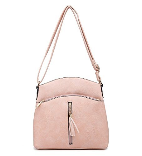 Faux Fashion Shoulder Leather Handbags Pink Womens Ladies O49 Messenger Crossbody qvxBxT5w